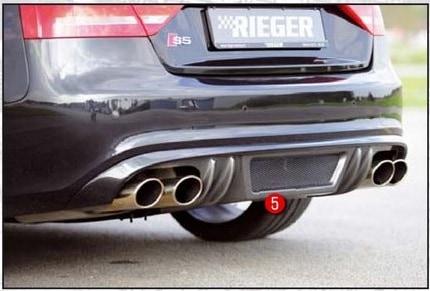 Diffusor (insats för bakstötfångare) Audi A5 Kolfiber Look